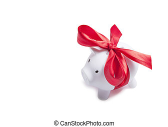 White piggy bank with red ribbon. Clipping path included.