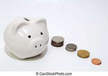 White piggy bank with Thai coins