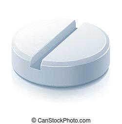 white pill drug medication illustration, isolated on white...
