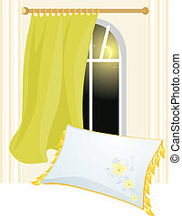 White pillow and window