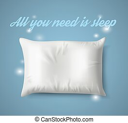 White Pillow with magic on Blue Background, Real Shadow. Vector illustration