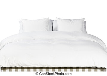 White pillows and blanket on a bed - Comfortable soft white...