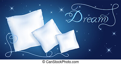 White pillows for sleeping against the starry night sky and...