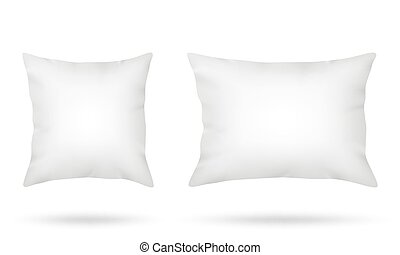 White pillows square and long rectangular isolated on white...