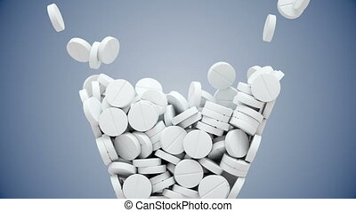 White pills fall and then pour out