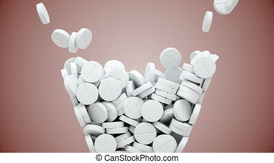 White pills fall and then pour out - White pills fall into...