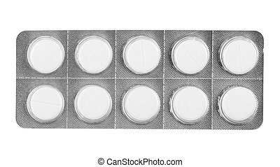 white pills in blister isolated