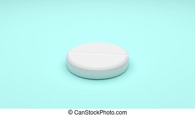 White pills isolated rotating on green background. Seamless looping. 4K UHD. 3d rendering.