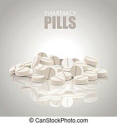 White Pills. Round Pills. Vector Pills. Vector Illustration.