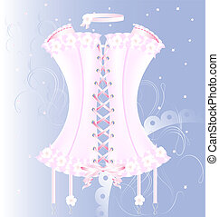 white-pink corset with pearl and tape - on a blue background...