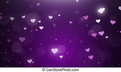 White-pink hearts on a violet background 4k