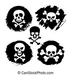 White piracy skull and crossbones vector icons