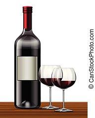 white piros, háttér, bor