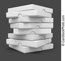 white pizza packaging boxes with blank cover for design 3d...