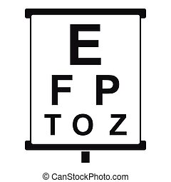 White placard with letters eyesight testing icon. Simple ...