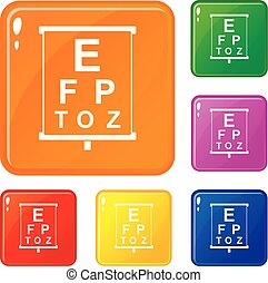 White placard with letters eyesight testing icons set vector...