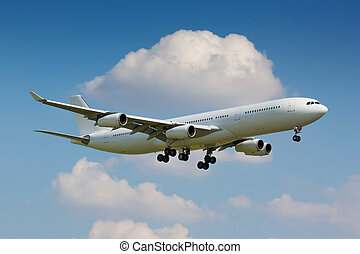 White plane - Huge white plane with four engines on final...
