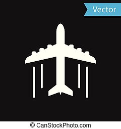 White Plane icon isolated on black background. Flying airplane icon. Airliner sign. Vector Illustration