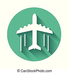 White Plane icon isolated with long shadow. Flying airplane icon. Airliner sign. Green circle button. Vector Illustration