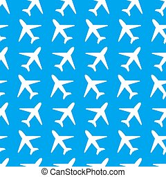 White plane icons on blue background seamless pattern