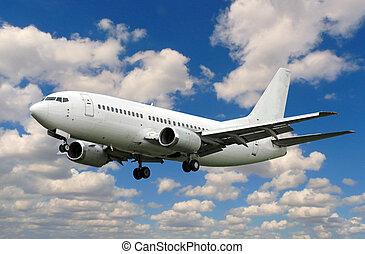 white plane landing