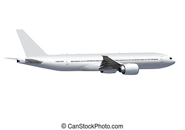 white plane with path - white commercial airplane on white...