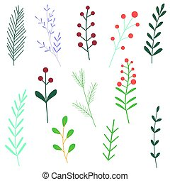 white., plants., elements., 漫画, ベクトル, 花, セット, 隔離された