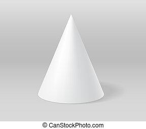 White plaster cone on grey scene