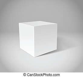 White plaster cube on grey scene