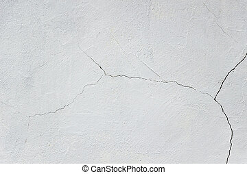 White plaster with crack wall background texture