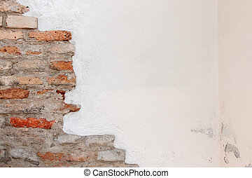 White plaster with old vintage red brick wall background