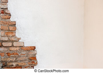 White plaster with old vintage red brick wall banner background