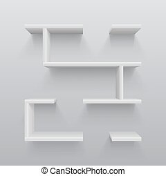 White plastic 3d shelves with light shadow on wall. Simplicity in interior design vector illustration