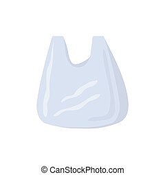 White plastic bag flat vector illustration isolated
