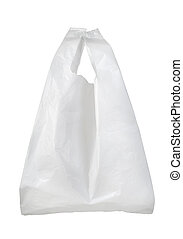 White plastic bag isolated on a white background