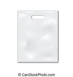 White Plastic Bag Mockup Isolated On Background