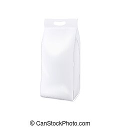 White plastic bag of laundry detergent - blank realistic mockup for product branding and packaging design.