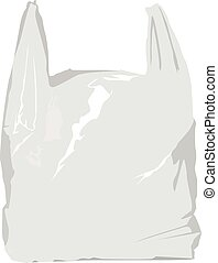 white plastic bag realistic vector illustration isolated