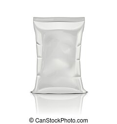White Plastic Bag Snack Package Isolated On White