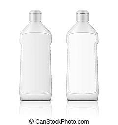 White plastic bottle for bleach with label. - White plastic...