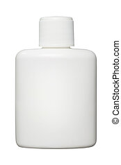 White plastic bottle for cosmetic or hygiene products with...