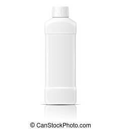 White plastic bottle template for dishwashing liquid, cleaning agent, laundry detergent or bleach. Vector illustration. Packaging collection.