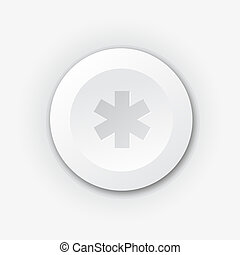 White plastic button with cross