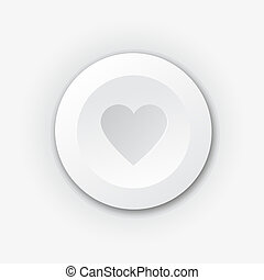 White plastic button with heart