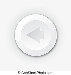 White plastic button with left arrow