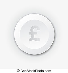White plastic button with pound sign