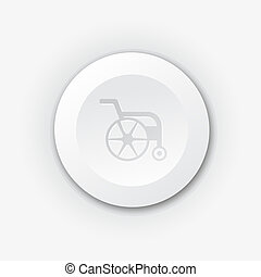 White plastic button with wheelchair