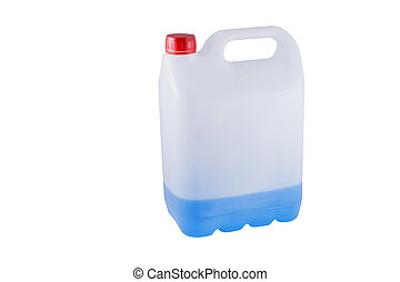 white plastic canister with blue li