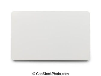 White Plastic Card with Copy Space Isolated on White Background.