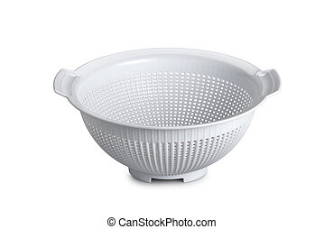 White plastic colander isolated on white background